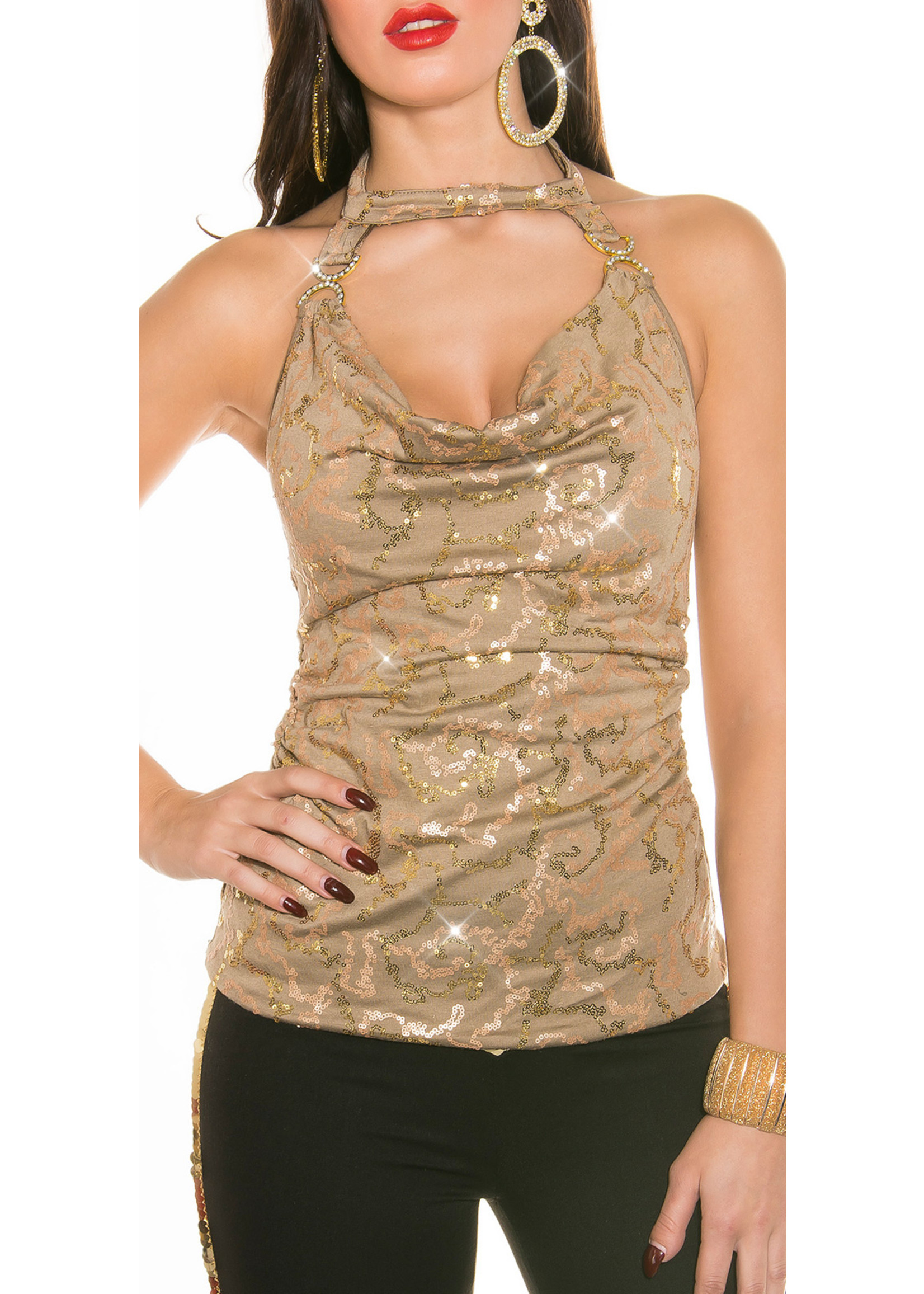 IN-STYLE FASHION CAPPUCCINO PARTY GLITTER TOP