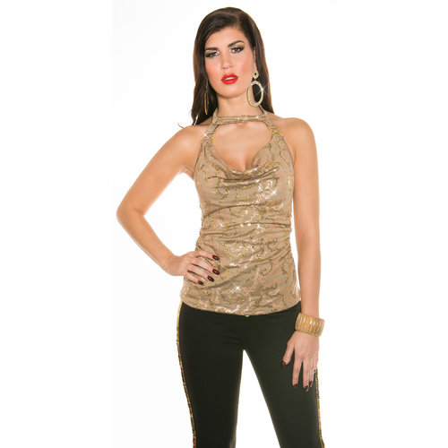 IN-STYLE FASHION CAPPUCCINO GLITTER TOP