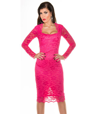 IN-STYLE FASHION ROZE KANTEN MIDI JURK