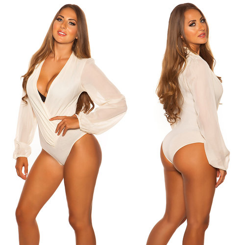 IN-STYLE FASHION CHAMPAGNE BODY BLOUSE MET DIEPE V-HALS