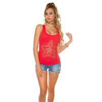 RODE TOP MET STUDS EN STRASS