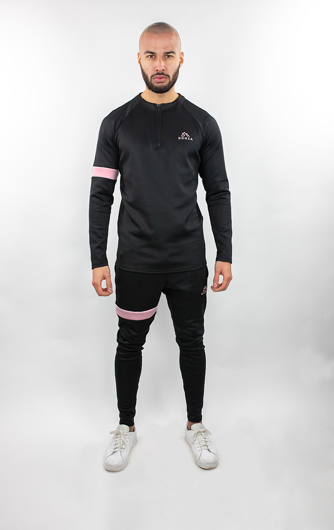 Donza Polyester Suit  zwart/roze
