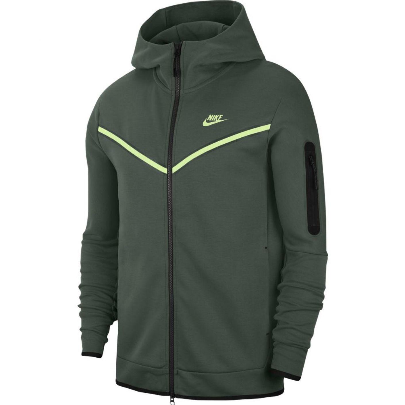 Nike Tech Fleece Windrunner Donkergroen Lime