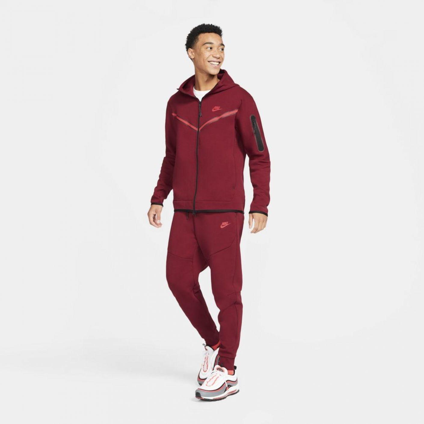 Nike Tech Fleece Windrunner Donkerrood Felrood
