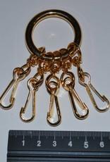 Ring met 5 sleutelhangers goud