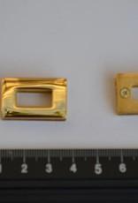 Oog rechthoekig goud 15x7mm met schroeven