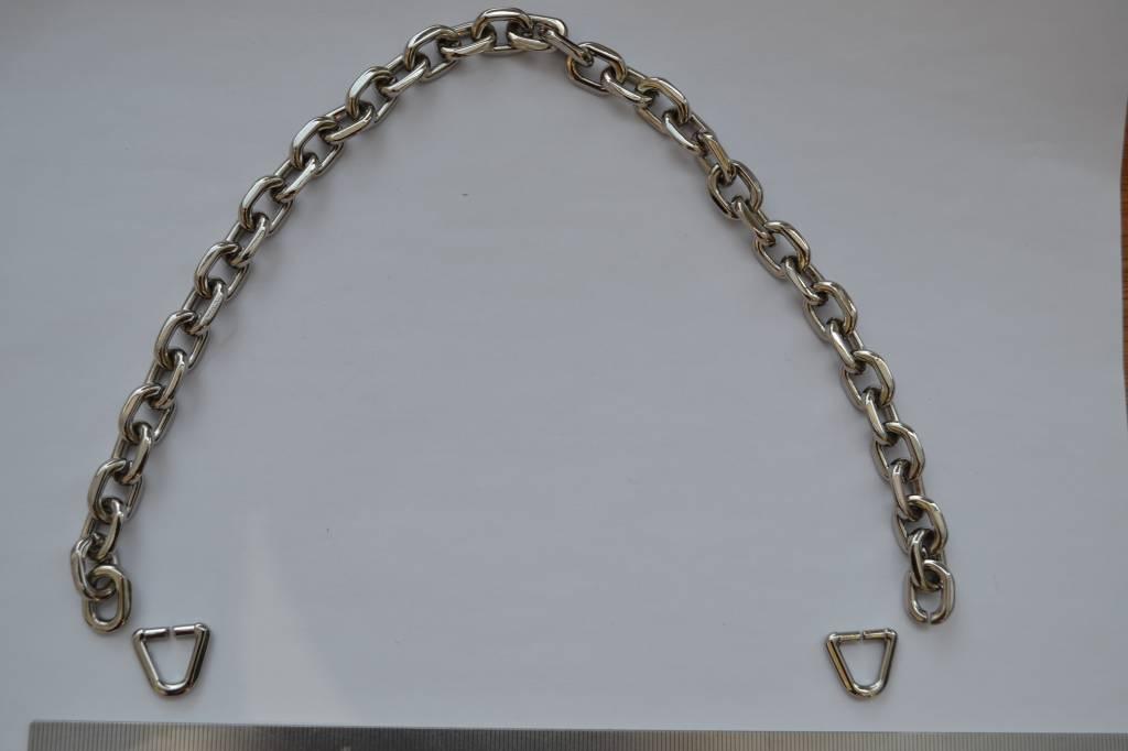 Ketting zilver + 2 riembevestigingen 10mm