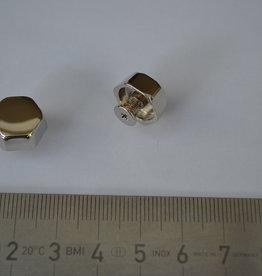 VR03 Sierknop met vijsjes 6-hoekig  12mm zilver