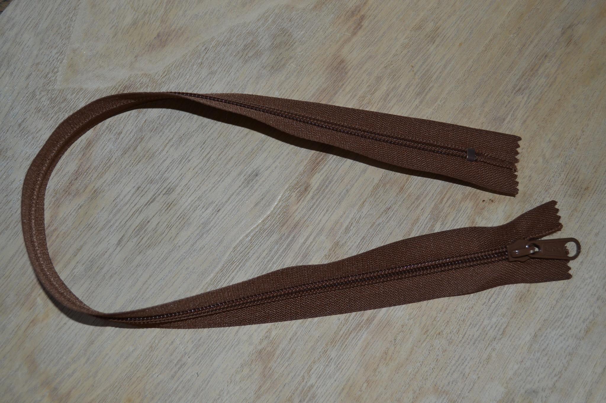 Nylon rits 40cm Donkerbruin