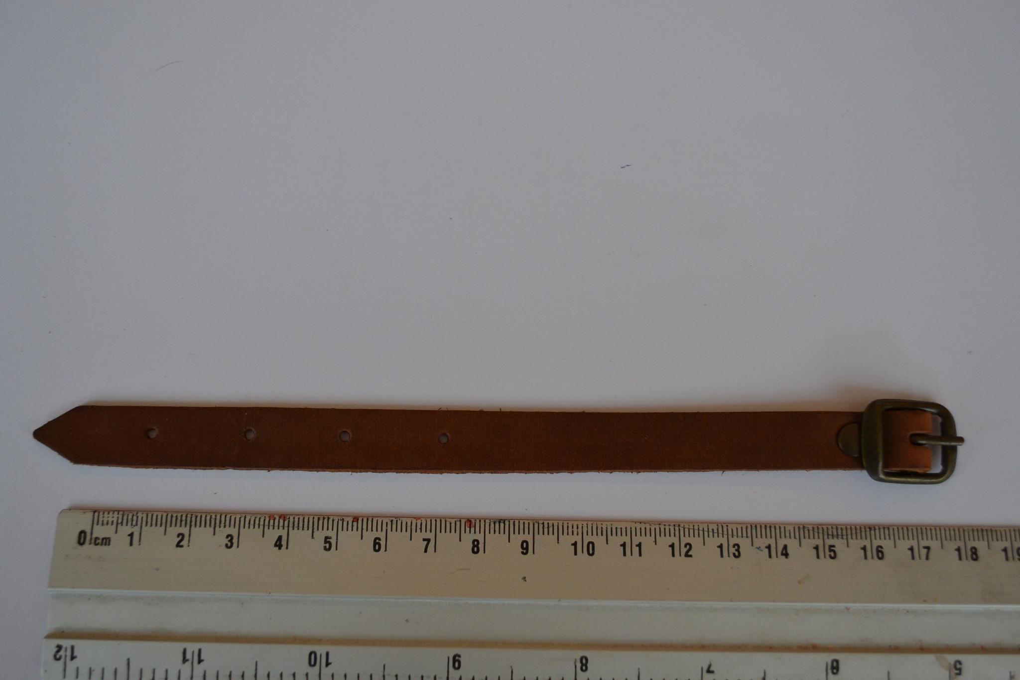 Korte lederen riem 18cm bruin