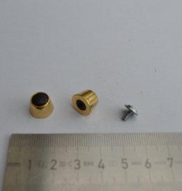 BH pootjes goud/zwart  met vijsje 12mm