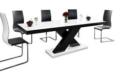 Xenon Uitschuifbaar Eettafel HG Wit/Zwart