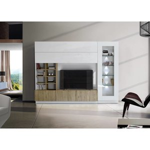 Benvenuto Design Line Compact TV wandmeubel Wit/Eiken