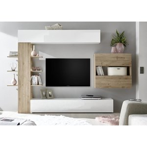 Benvenuto Design Sorano TV wandmeubel One Wit/Eiken