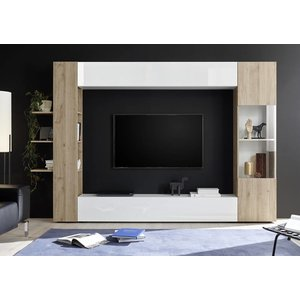 Benvenuto Design Sorano TV wandmeubel Two Wit/Eiken