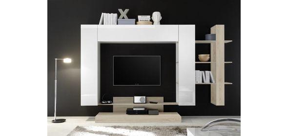 Benvenuto Design Nice TV wandmeubel Wit/Eiken