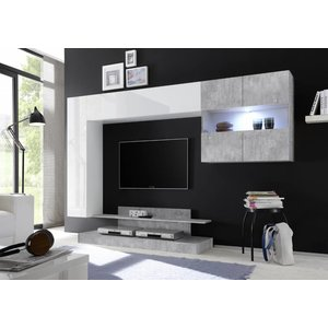 Benvenuto Design Nice TV wandmeubel Combi Wit/Grijs