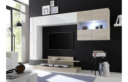Nice TV wandmeubel Combi Wit/Eiken