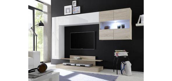 Benvenuto Design Nice TV wandmeubel Combi Wit/Eiken