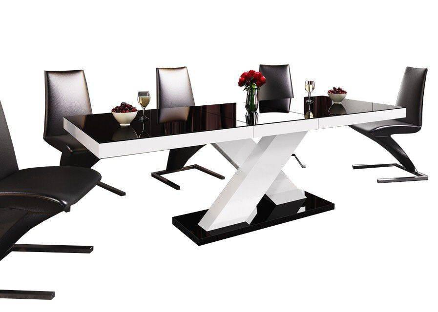 Zwart Wit Hoogglans Eettafel.Hubertus Meble Xenon Uitschuifbare Eettafel Zwart Wit