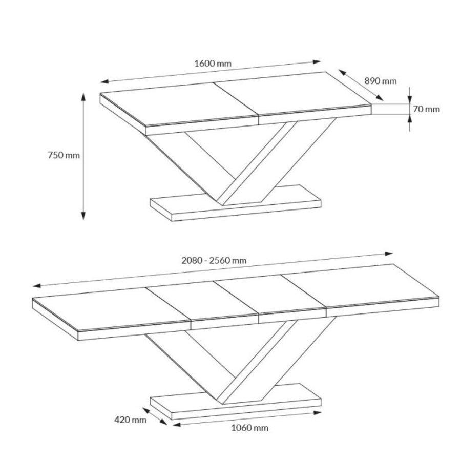 Victoria Uitschuifbare Eettafel HG Zwart/Wit