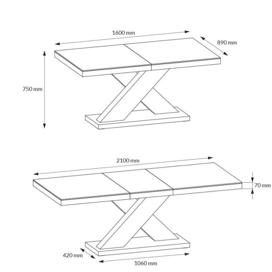 Xenon Uitschuifbare Eettafel Grijs/Wit