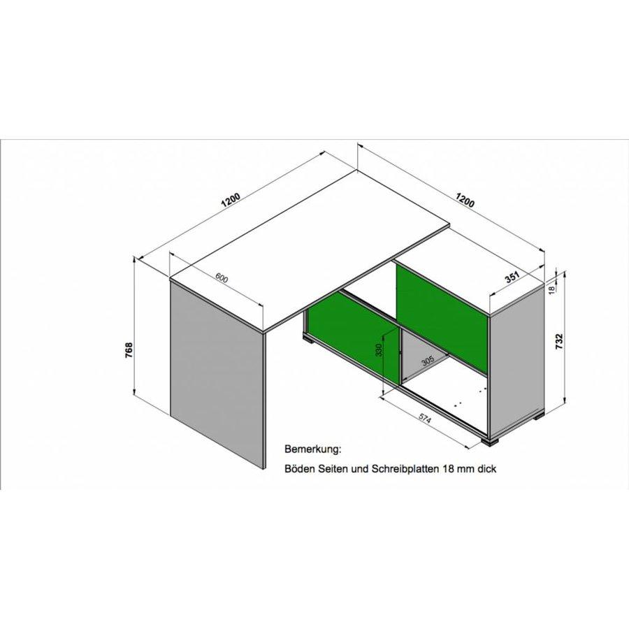 Slider Bureau Wit/Sonoma Eiken