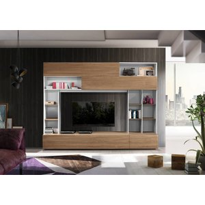 Benvenuto Design Pratiko TV wandmeubel Wit/Eiken
