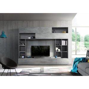 Benvenuto Design Pratiko TV wandmeubel Oxid Grijs/Beton