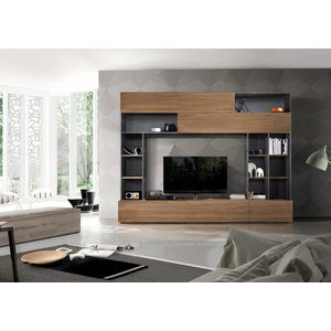 Benvenuto Design Pratiko TV wandmeubel Grijs/Eiken