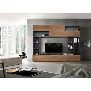 Benvenuto Design Pratiko TV wandmeubel Oxid Grijs/Eiken