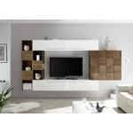 Bex TV-wandmeubel 5 Wit / Walnoot