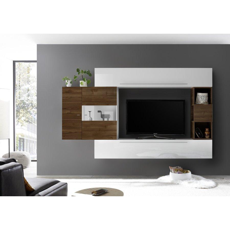 Bex TV-wandmeubel 26 Wit / Walnoot