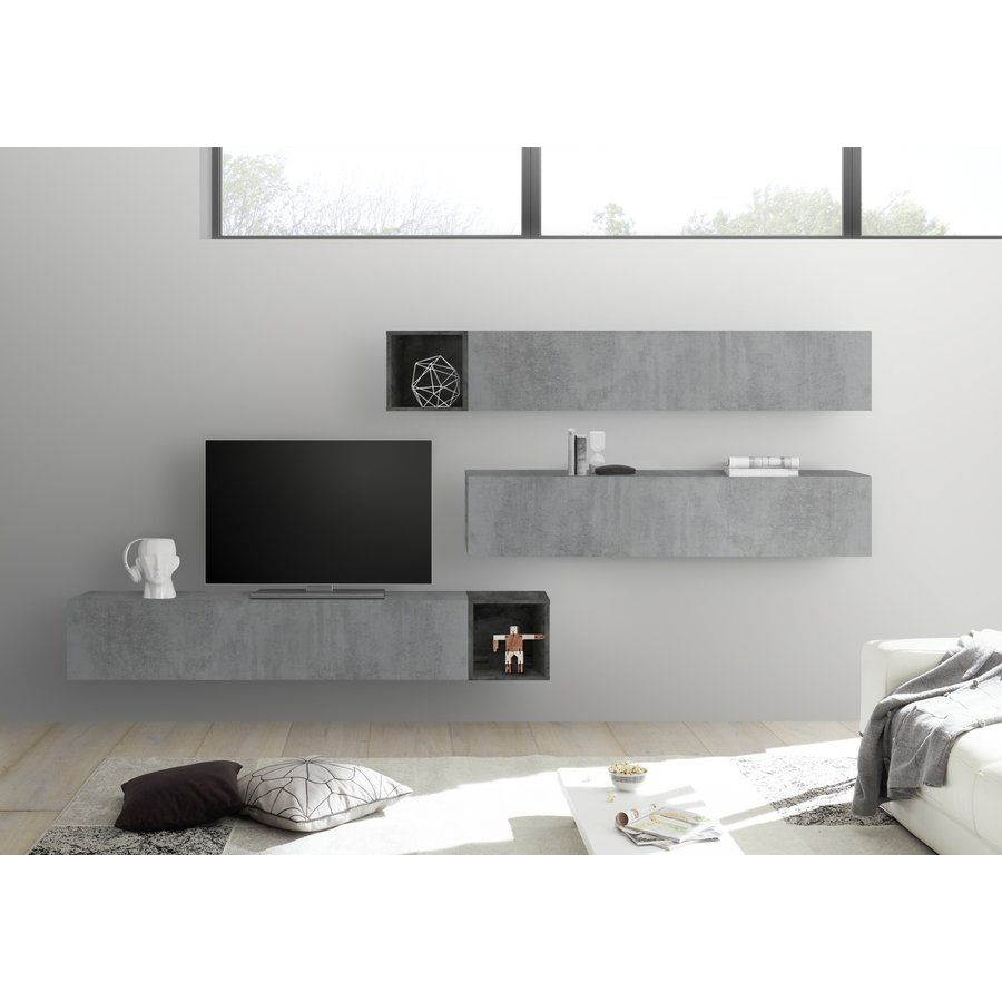 Bex TV-wandmeubel 46 Beton / Oxid