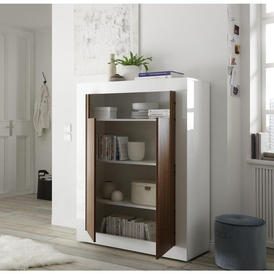 Urbino Opbergkast Wit / Walnoot