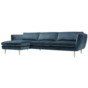 Sits Teddy Chaiselongue+3-zits  Bank Donkerblauw