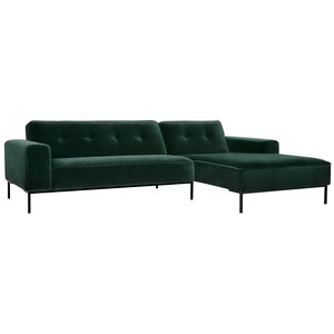 Sits Ville 2-zits+Chaiselongue Button Bank Groen Velvet