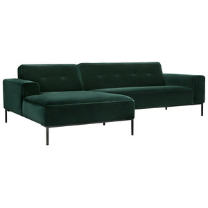 Sits Ville Chaiselongue+2-zits Button Bank Groen Velvet