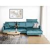 Indigo 2-zits+Chaiselongue Hoekbank Turquoise