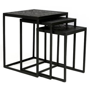 Davidi Design Black Herringbone Bijzettafel Set