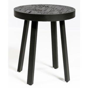 Davidi Design Black Herringbone Ronde Bijzettafel