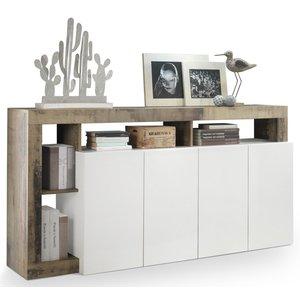 Benvenuto Design Hamburg Dressoir 4 deurs Wit / Eiken