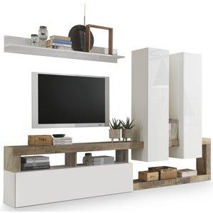 Benvenuto Design Hamburg TV-wandmeubel Wit / Eiken