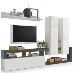 Benvenuto Design Hamburg TV-wandmeubel Wit / Oxid
