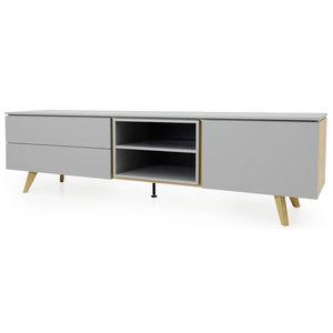 Tenzo Plain TV-Meubel 210 cm Grijs / Eiken