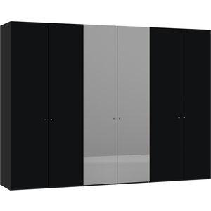 Jutzler Zwart Draaideurkast Mat Glas/Spiegel 6 deurs