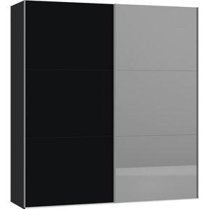 Jutzler Zwart/Donker Spiegel Schuifdeurkast 202 cm