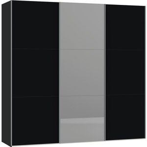Jutzler Zwart/Donker Spiegel Schuifdeurkast 228 cm
