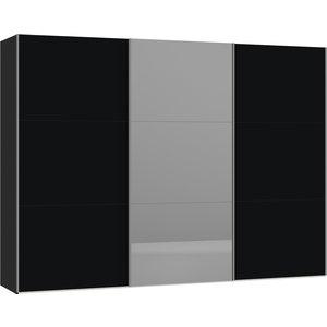 Jutzler Zwart/Donker Spiegel Schuifdeurkast 303 cm