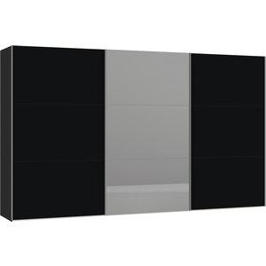 Jutzler Zwart/Donker Spiegel Schuifdeurkast 379 cm